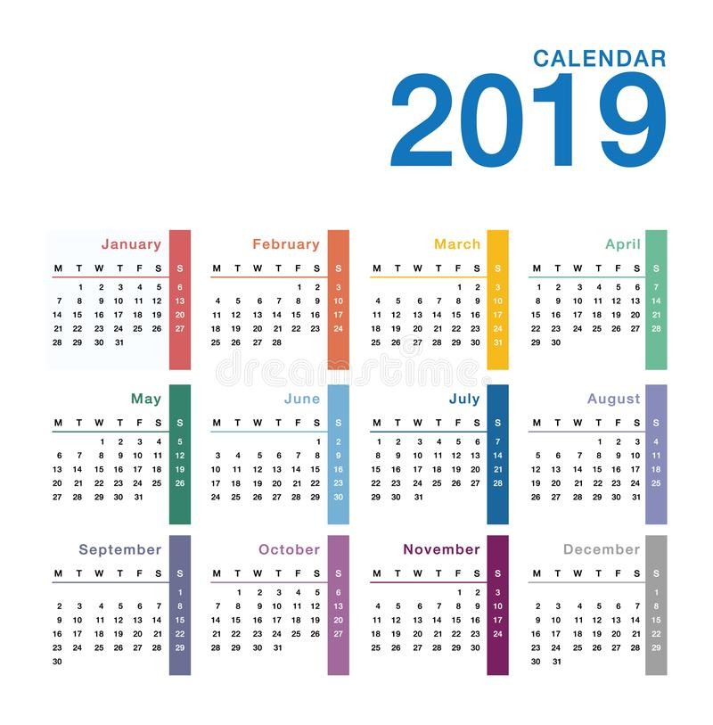 Colorful Year 2019 calendar vector design template, simple and clean design. vector illustration