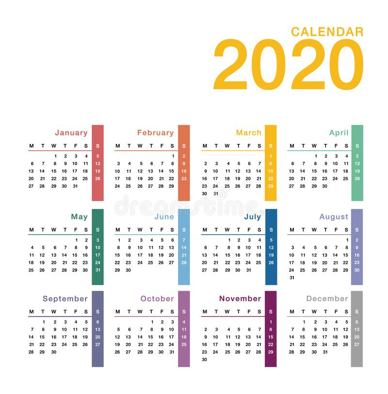 Colorful Year 2020 calendar vector design template, simple and clean design. Calendar for 2020 on White Background for organizatio vector illustration