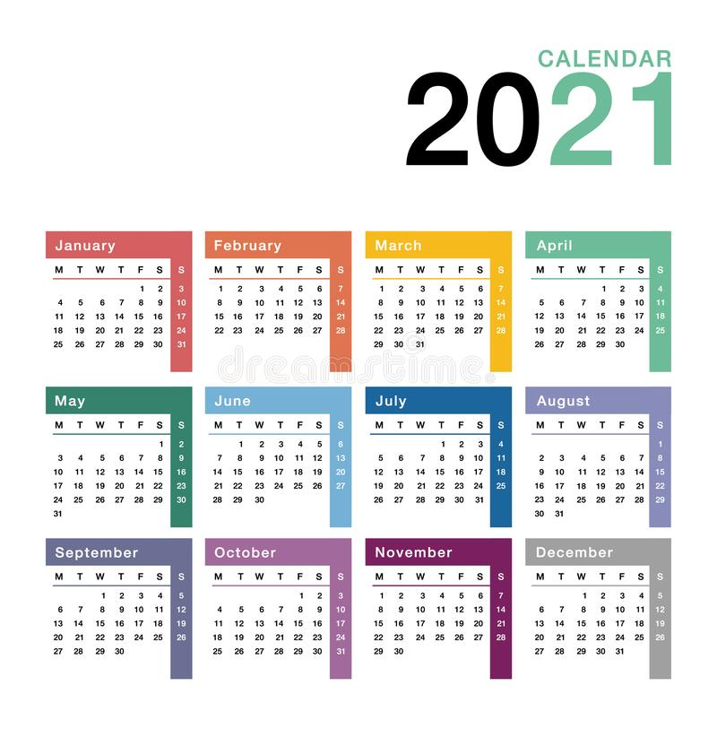 Colorful Year 2021 calendar vector design template, simple and clean design. Calendar for 2021 on White Background for organizatio vector illustration
