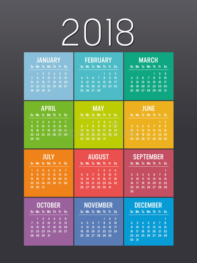 Colorful year 2018 calendar vector template royalty free illustration