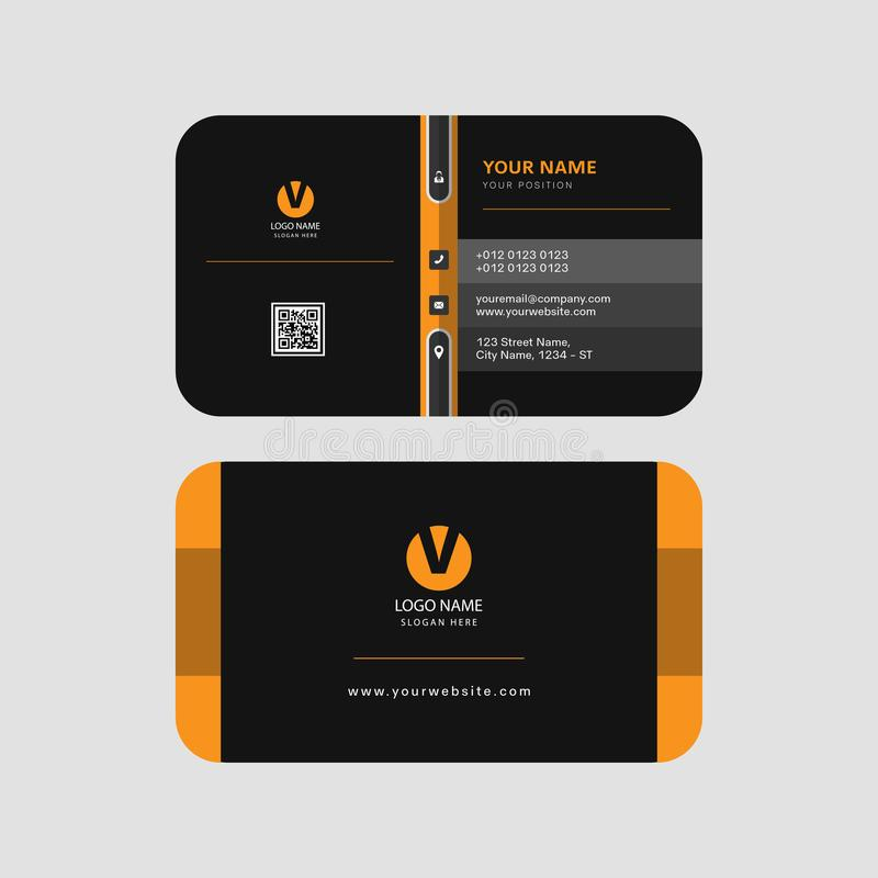Colorful yellow and black color modern professional business card template invitation card creation royalty free illustration