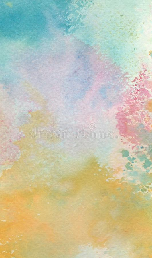 Colorful yellow pink blue painted watercolor splashes abstract wallpaper background royalty free illustration