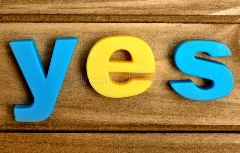 Colorful yes word royalty free stock photos