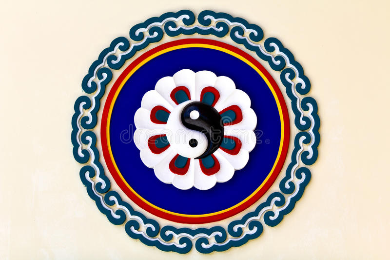 Colorful yin-yang sign. In the chinese temple, Thailand stock image