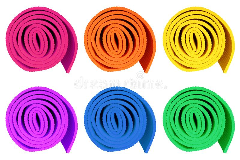 Colorful yoga mats isolated on white background. stock photos