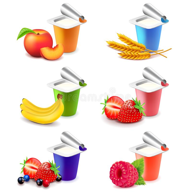 Colorful yogurt cups with fruits 3d realistic vector set vector illustration