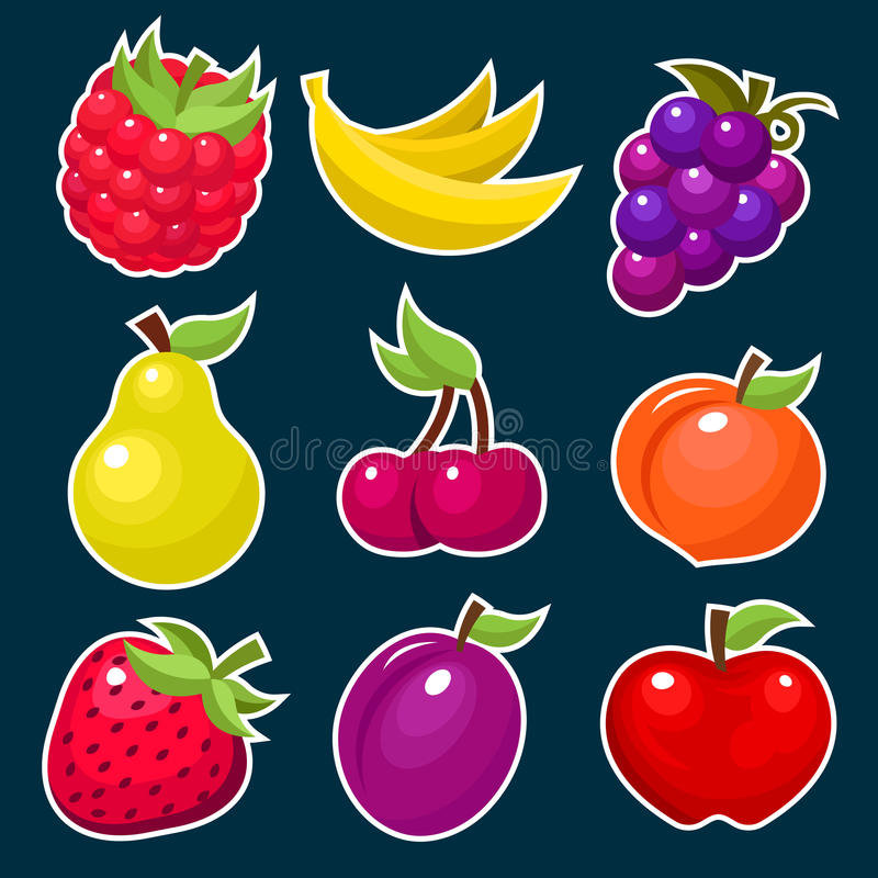 Colorful Yummy Fruit Icons.