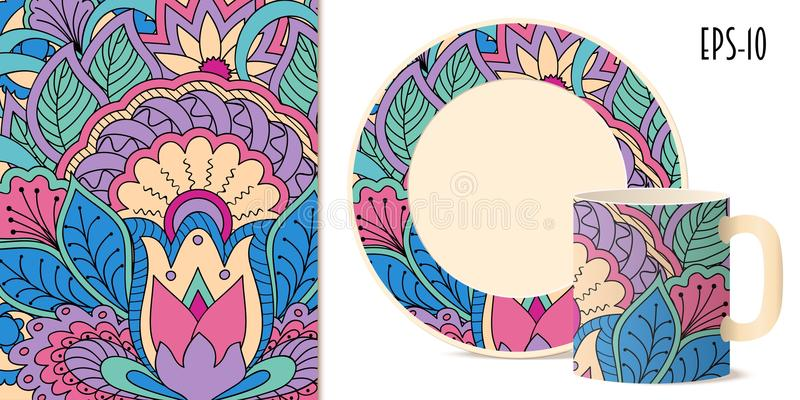 Colorful zen floral pattern with mandala and lotus for dishes. Hand drawn colorful pattern with flowers and mandala in zen style for decorate kitchenware, cup vector illustration