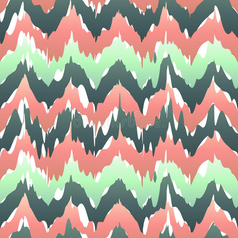 Colorful zigzag geometric seamless pattern in pink and green, vector ikat pattern stock illustration