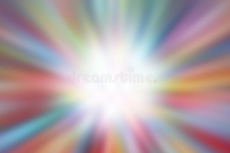 Colorful zoom blurred defocused effect multi color lights texture, bokeh colorful of glittering shine background and center image. The colorful zoom blurred royalty free stock image
