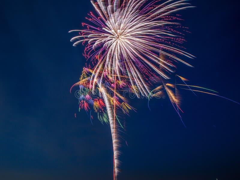 ColorfulfFireworks-Explosion im nächtlichen Himmel mit hellen Spuren lizenzfreie stockfotos