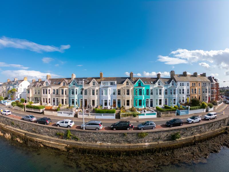 Colorfulhouses green blue yellow and red in row in Bangor Northern Ireland Aerial view stock images