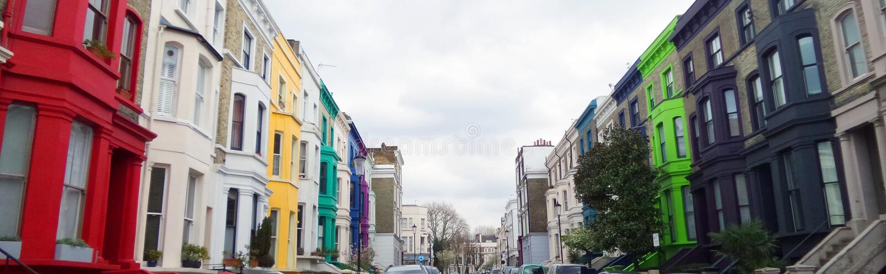 Colorfull大厦,诺丁山,伦敦 免版税库存照片