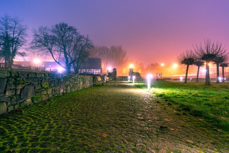 Colorfull światła przy wieczór i natura obraz stock