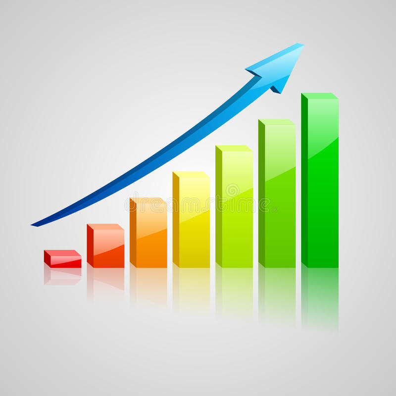 Colorfull绘制经济情况统计图表 库存例证
