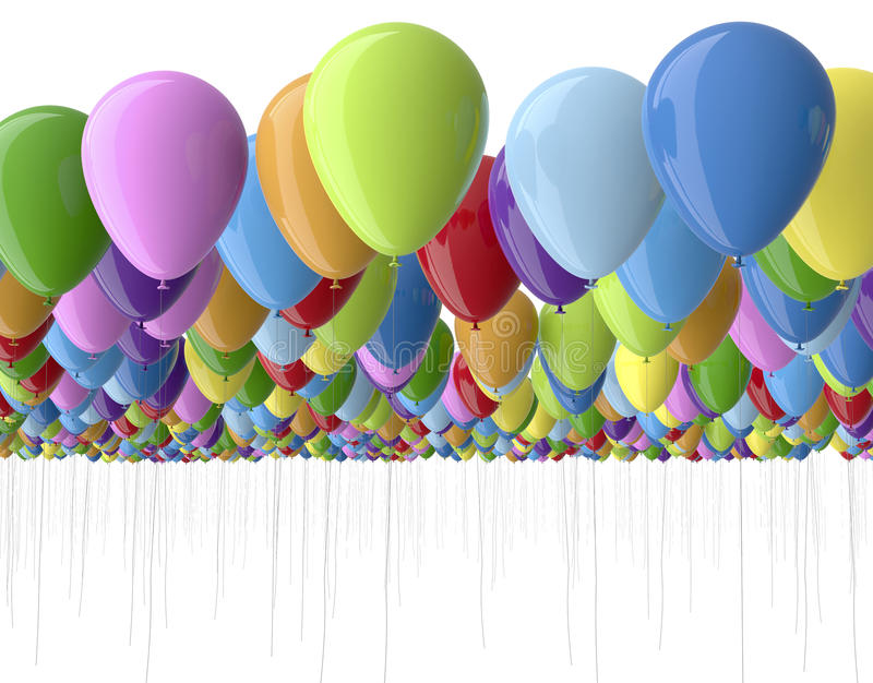 Colorfull balloons isolated on white stock illustration