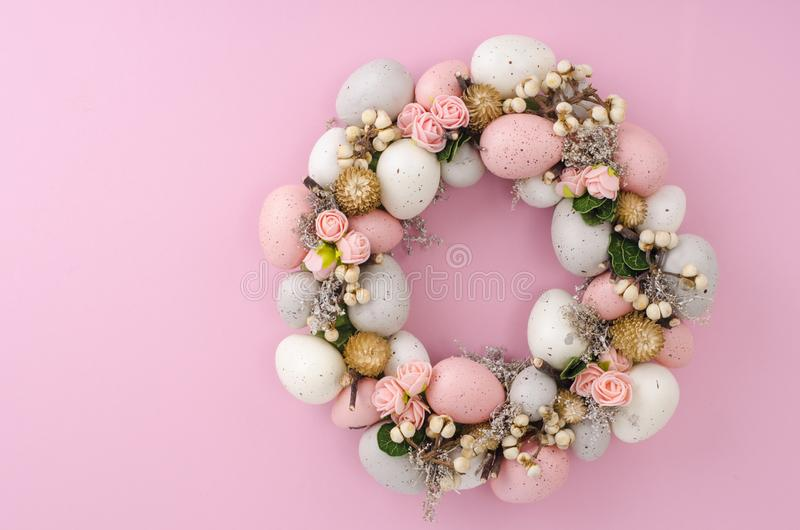 Colorfull Beautiful festive Easter wreath.  Photo stock photos