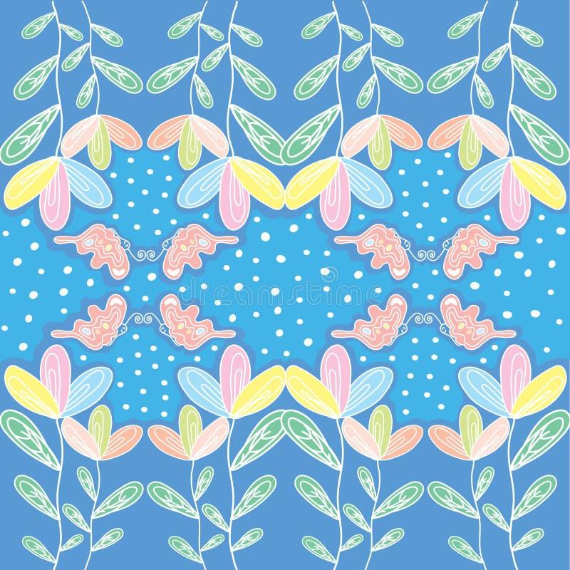 Colorfull blomma med fjärilen och polkadot royaltyfri illustrationer