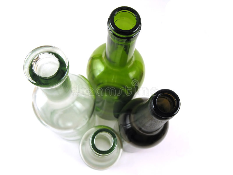 Colorfull bottles (top view) stock photo