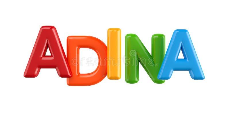 Isolated colorfull 3d Kid Name balloon font Adina vector illustration