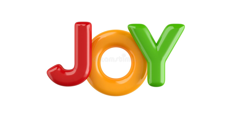 Isolated colorfull 3d Kid Name balloon font Joy stock illustration