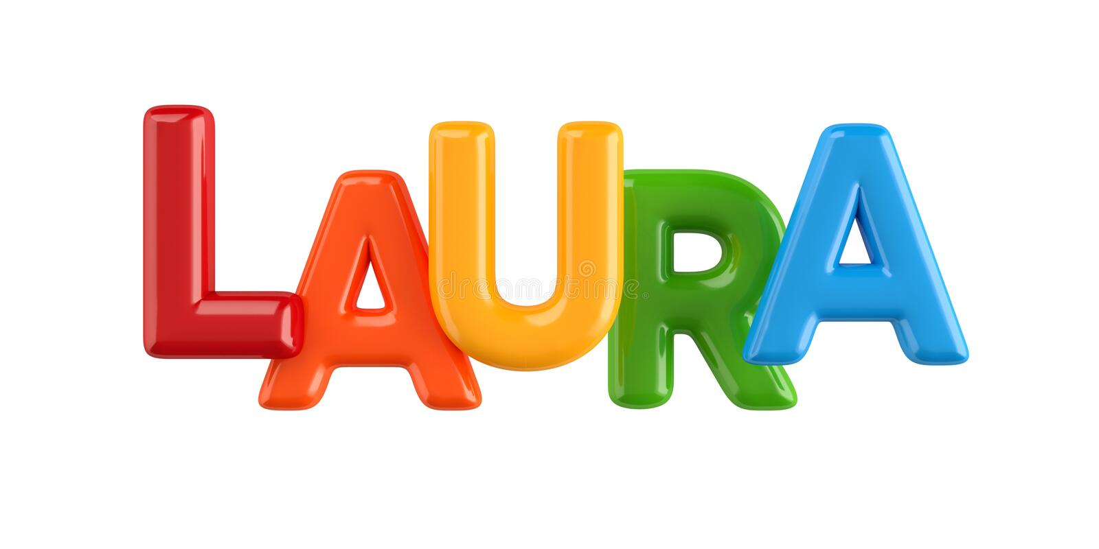 Isolated colorfull 3d Kid Name balloon font Laura vector illustration