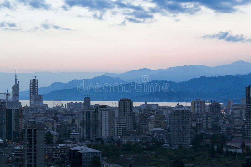 A colorfull dawn in Batum stock photography
