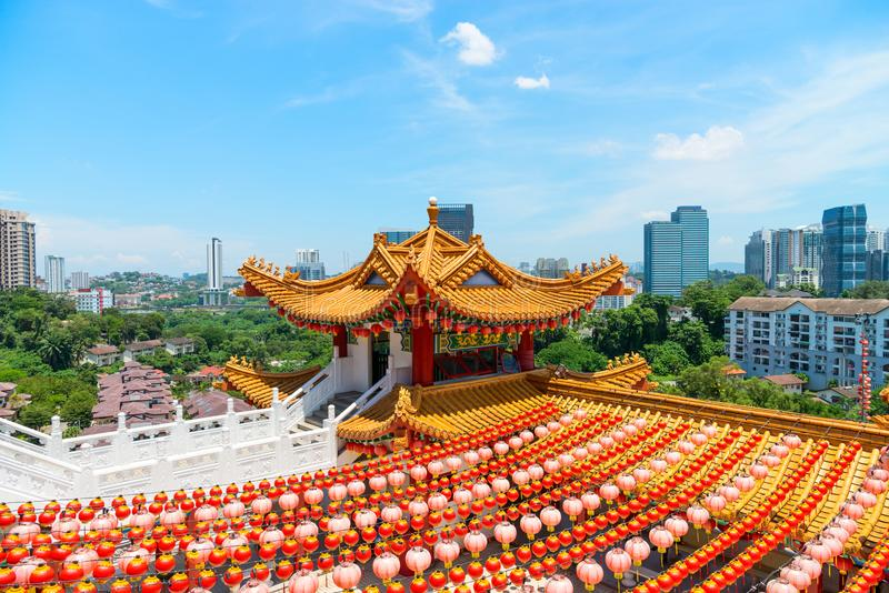 Colorfull decorative tower in traditional chinese temple. Colorfull decorative tower with spectacular roofs, ornate carvings and intricate embellishments in royalty free stock photo