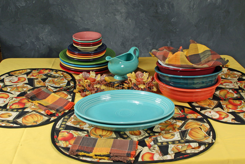 Colorfull dinner setting royalty free stock image