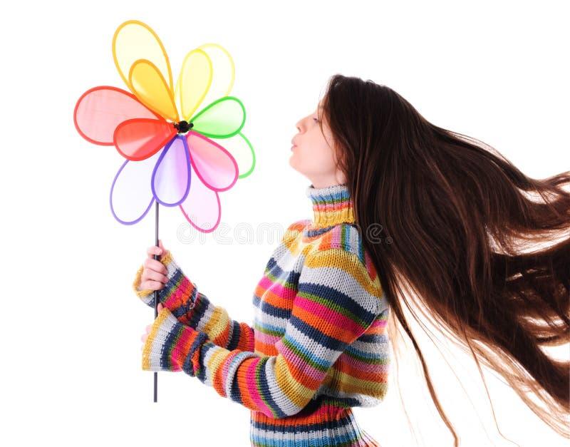 colorfull dziewczyny wiatraczek obraz stock