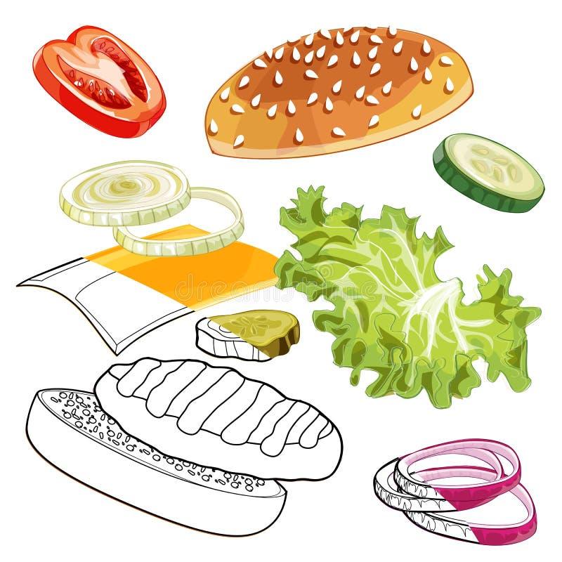 Colorfull ed annunci bianco-neri dell'hamburger sopra la qualsiasi BG fotografie stock libere da diritti