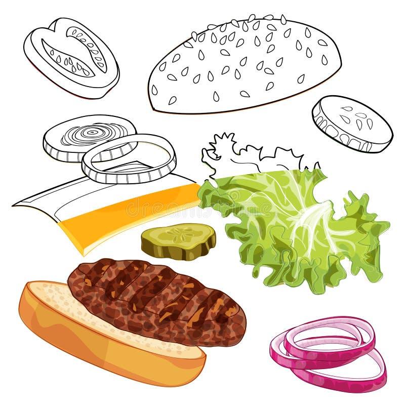 Colorfull ed annunci bianco-neri dell'hamburger sopra la qualsiasi BG immagini stock libere da diritti