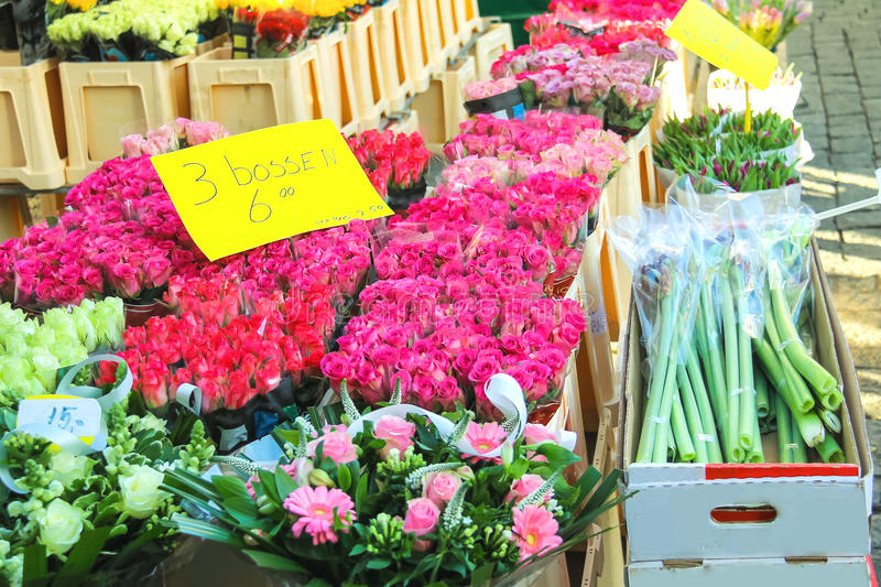 Colorfull flowers for sale at a Dutch flower market stock images