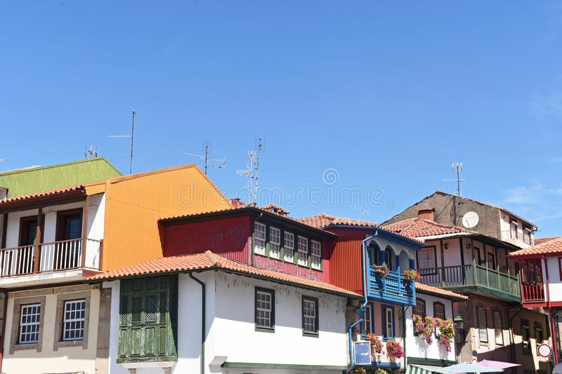 Colorfull house in Chaves,. Portugal stock images