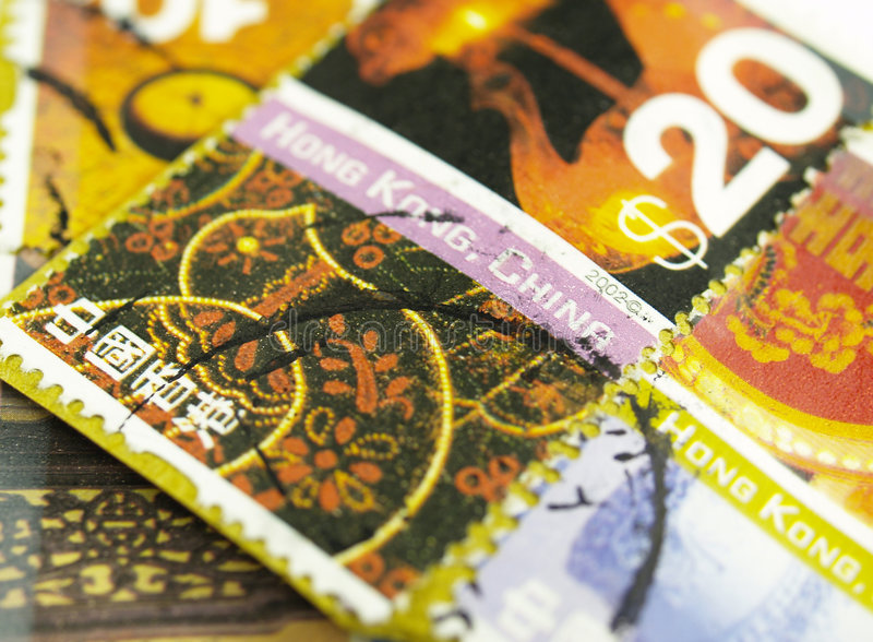 Colorfull international post stamps royalty free stock photography