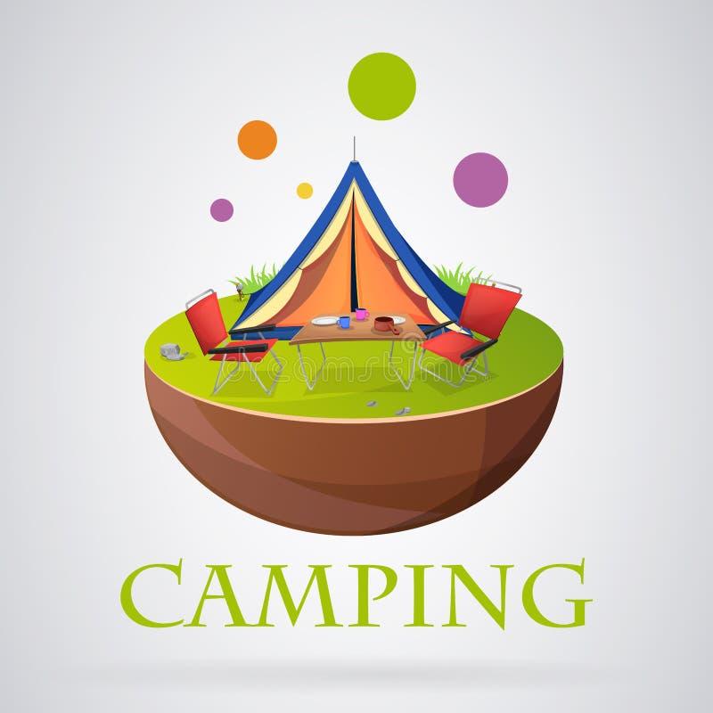 Colorfull moderne de camping de logo illustration stock
