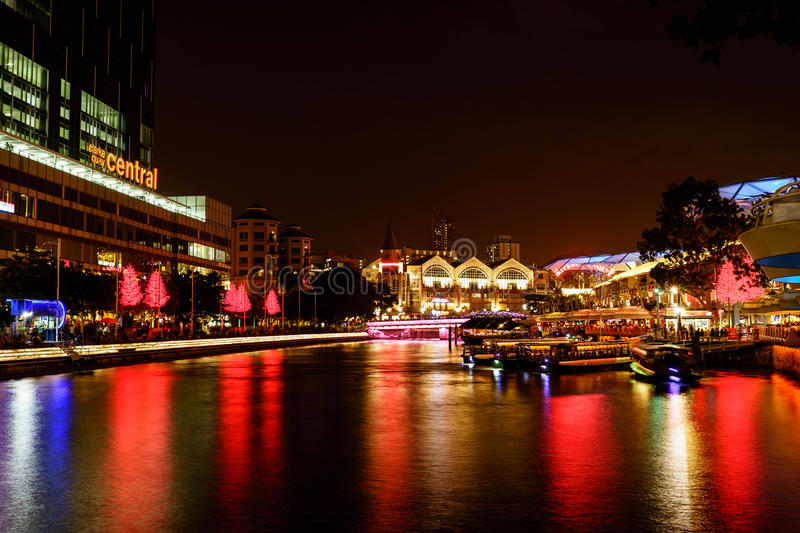 Colorfull Night scene of Singapore river, Clark query royalty free stock photography