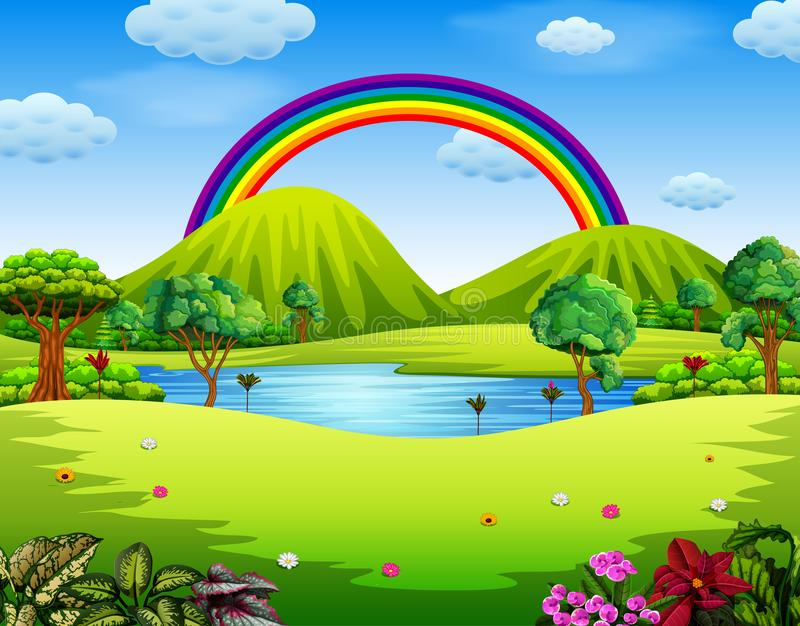 Colorfull ogród z piękną tęczą ilustracja wektor