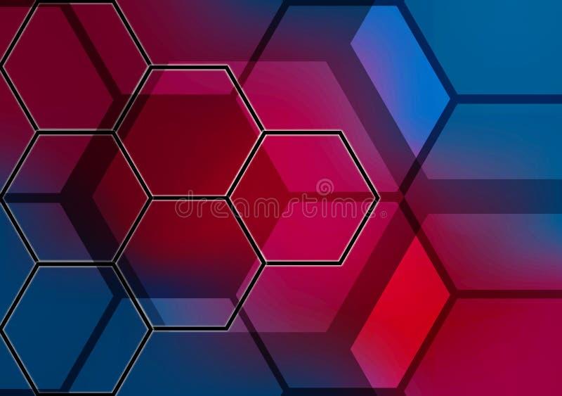 Colorfull sextavado abstrato do fundo ilustração stock
