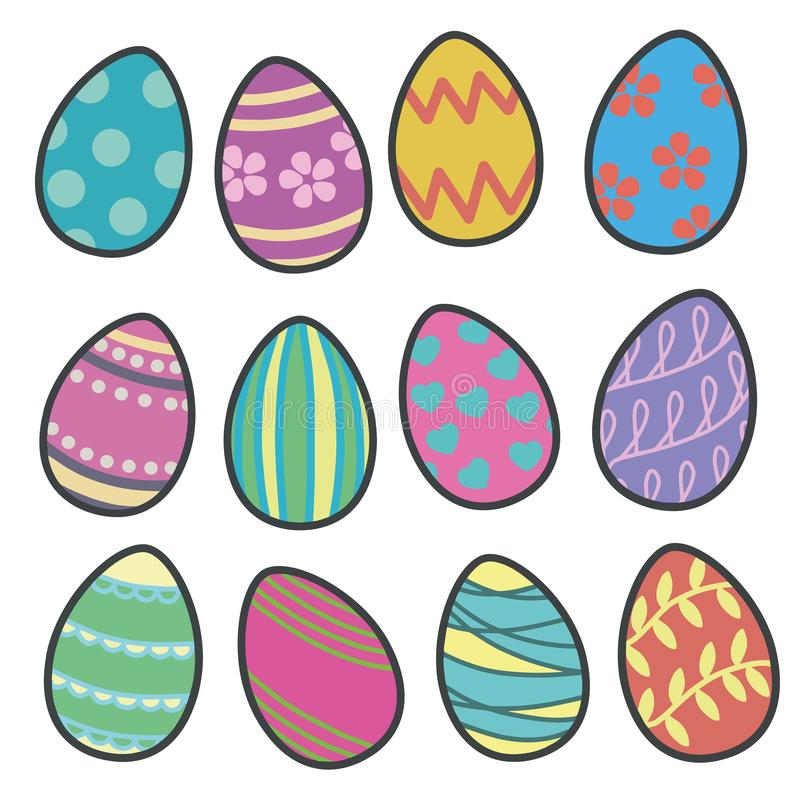 Colorfull vector collection mix of easter eggs with different patterns vector illustration