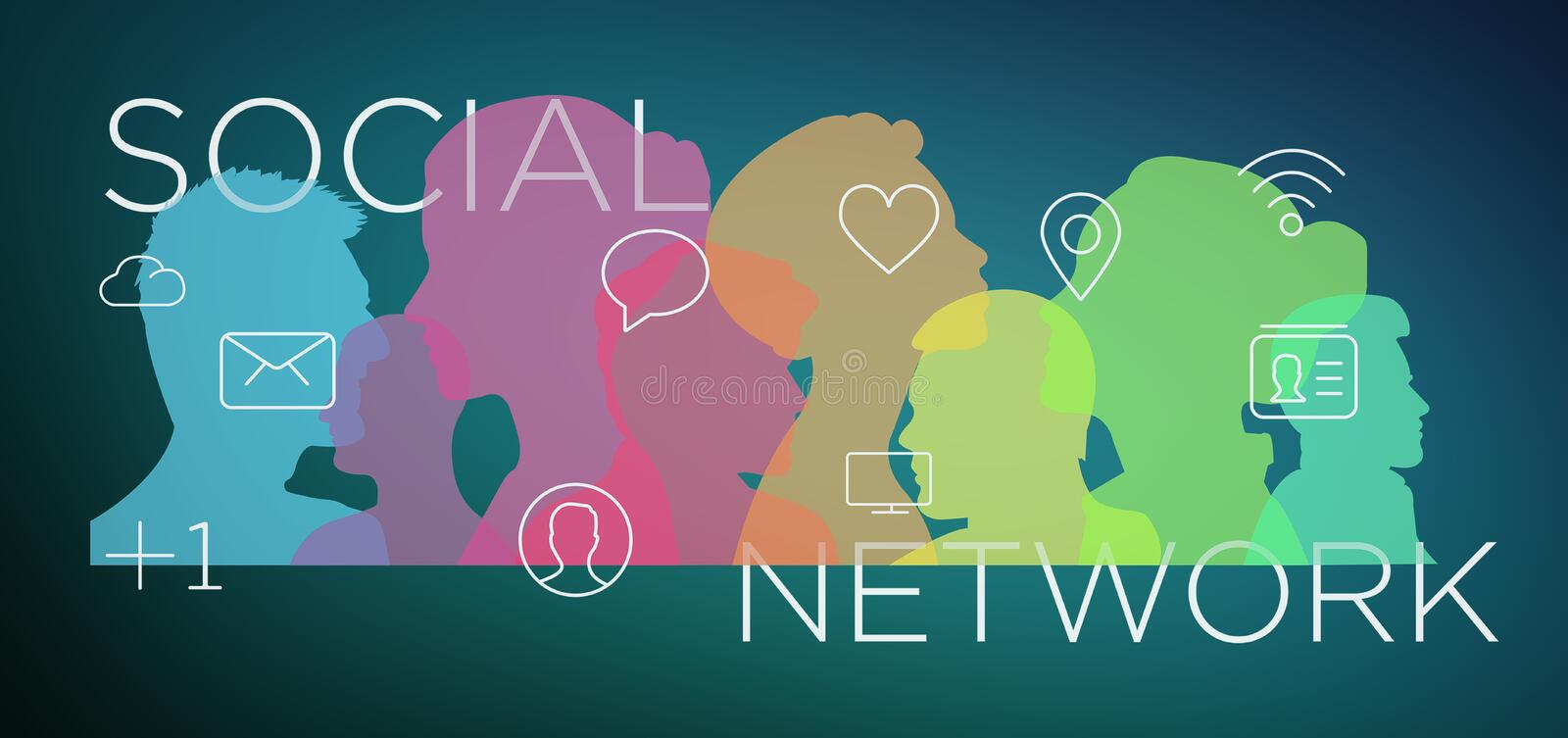 Colorfull social network teamwork with icon 3d rendering vector illustration