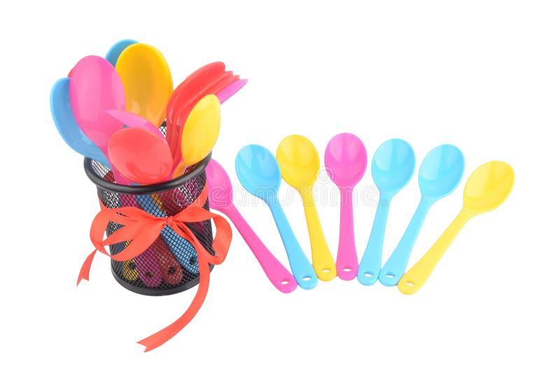 Colorfull spoon. With white background stock photos