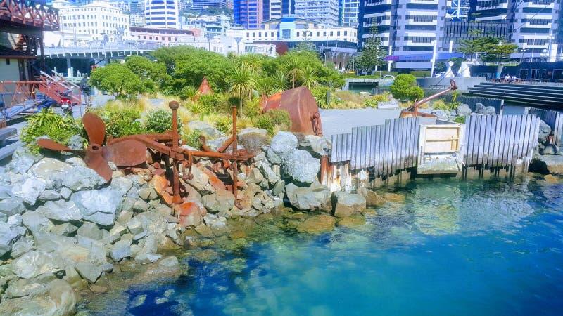 Colorfull stadslandskap på havet arkivbild
