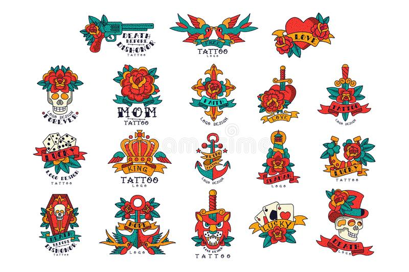 Colorfull-Tätowierungen im Weinleseartsatz Vektor Illustrationen stock abbildung