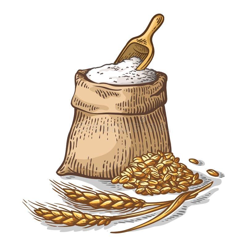 Colorfull torba burlap z świeżą mąką i drewnianą miarką na białym tle ilustracja wektor