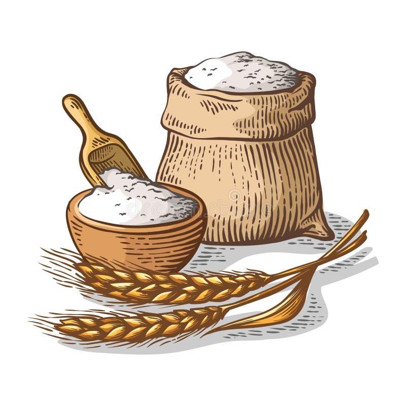 Colorfull torba burlap z świeżej mąki naczynia drewnianą miarką na białym tle ilustracja wektor