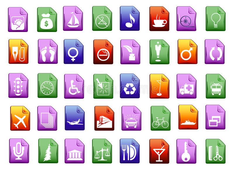 Download Colorfull vector icons stock vector. Image of playback - 6104171