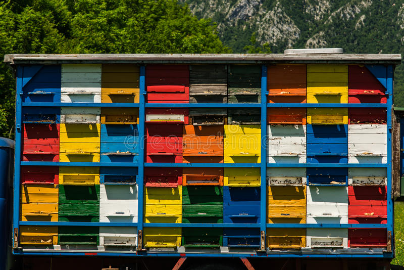 Colorfull and vibrant bee hives on old truck in Slovenia. Meadow in Julian Alps,Triglav Park, Slovenia stock photos