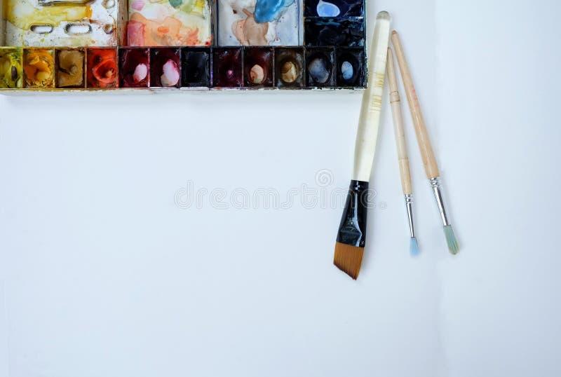 Colorfull watercolor palette art wallpaper stock image