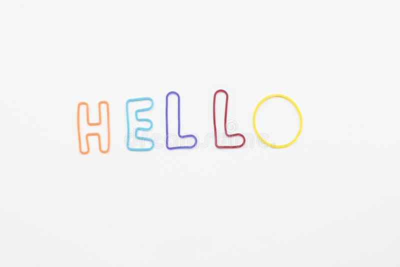 Colorfullbrieven voor het woord hello op witte achtergrond stock afbeelding